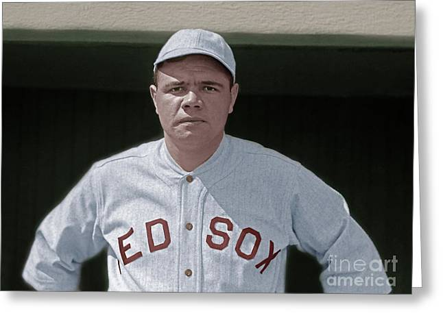 Babe Ruth Boston Red Sox Colorized 20170622 Greeting Card