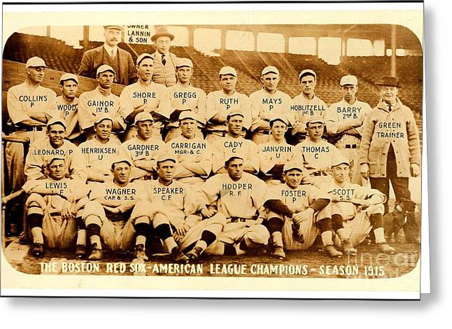 Greeting Card featuring the photograph Babe Ruth Boston Red Sox American League Champions Season 1915 by Peter Gumaer Ogden