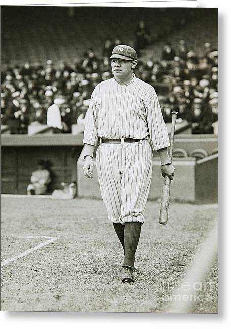 Babe Ruth Going To Bat Greeting Card