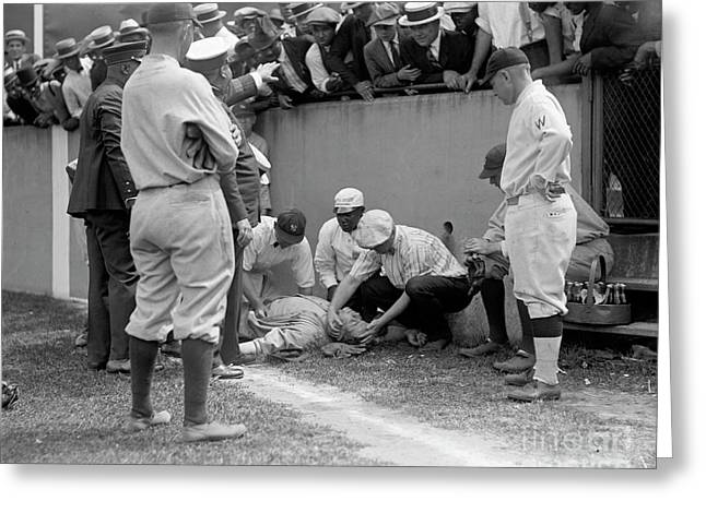 Babe Ruth Knocked Out By A Wild Pitch Greeting Card