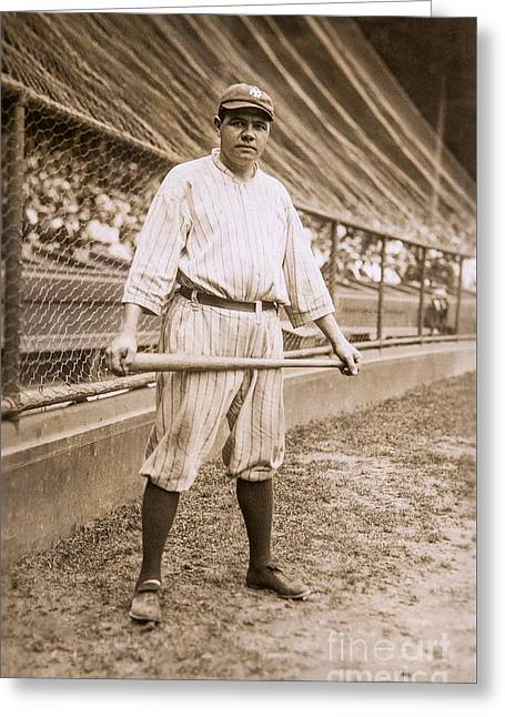 Babe Ruth On Deck Greeting Card by Jon Neidert