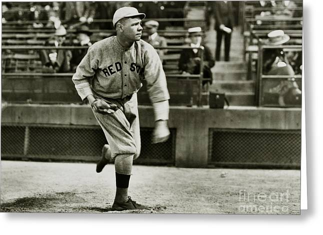 Babe Ruth Pitching Greeting Card by Jon Neidert