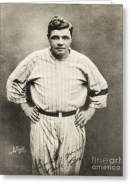 Babe Ruth Portrait Greeting Card by Jon Neidert