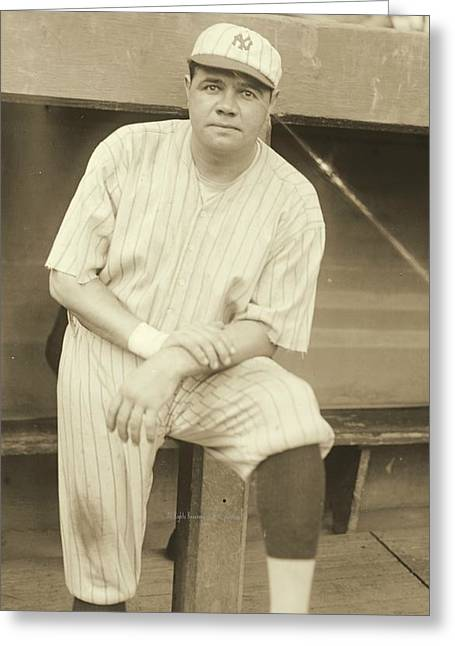 Babe Ruth Posing Greeting Card