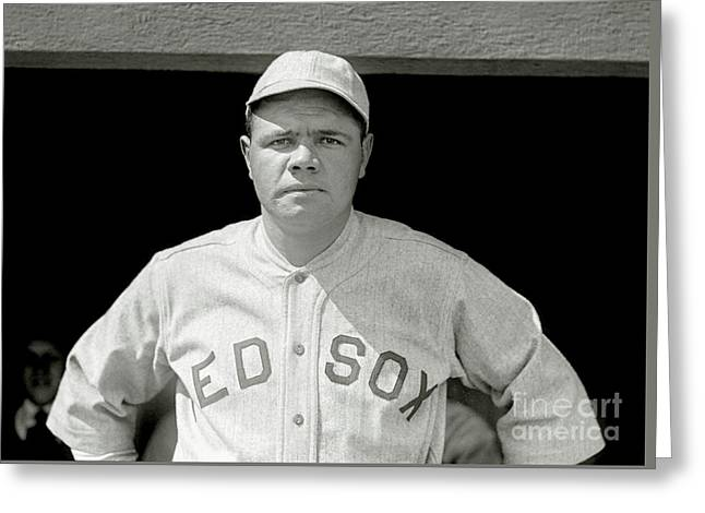 Babe Ruth Red Sox Greeting Card by Jon Neidert