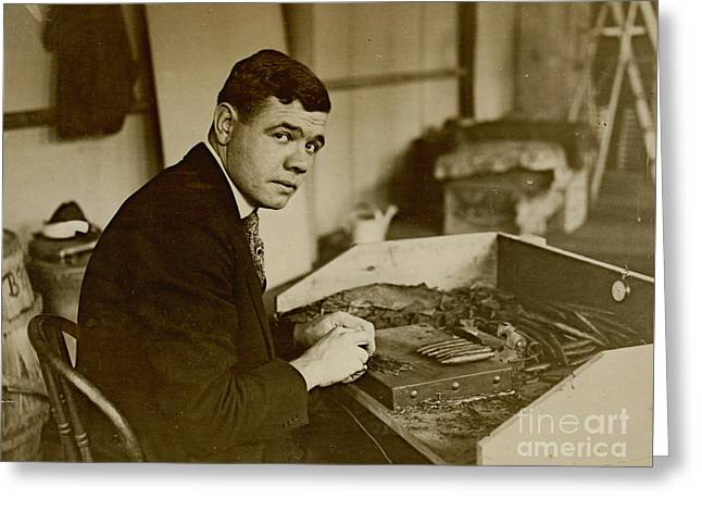 Babe Ruth Rolls Cigars 1919 Greeting Card by Padre Art