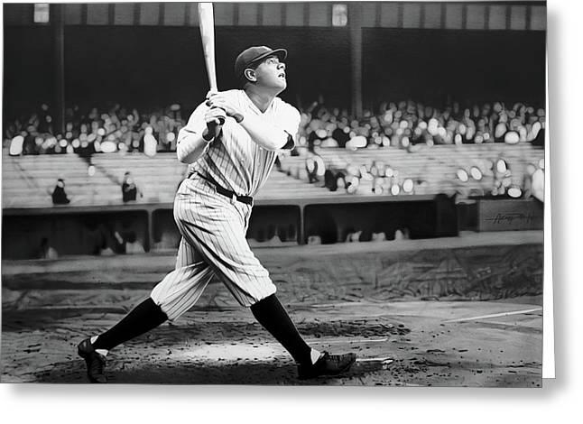Babe Ruth Swing 62717 Greeting Card