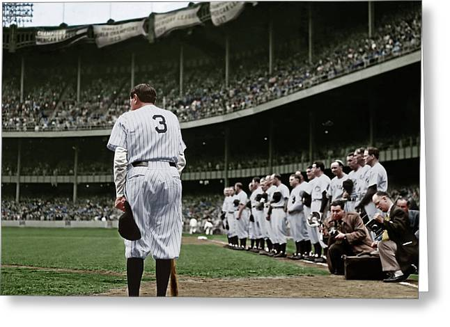 Babe Ruth The Sultan Of Swat Retires At Yankee Stadium Colorized 20170622 Square Greeting Card