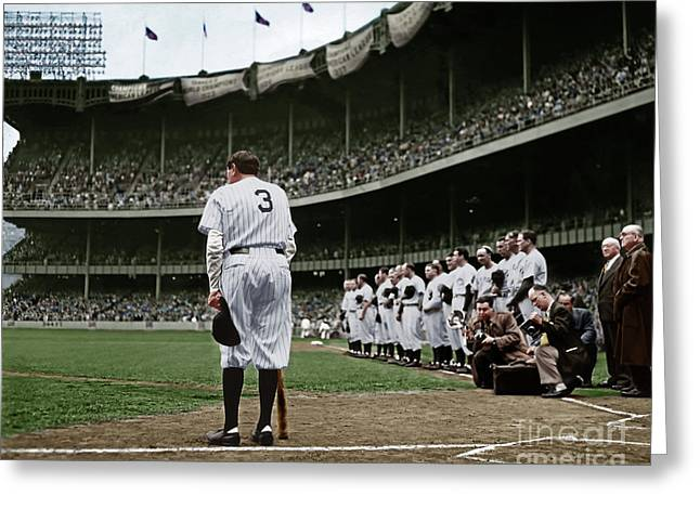 Babe Ruth The Sultan Of Swat Retires At Yankee Stadium Colorized 20170622 Greeting Card