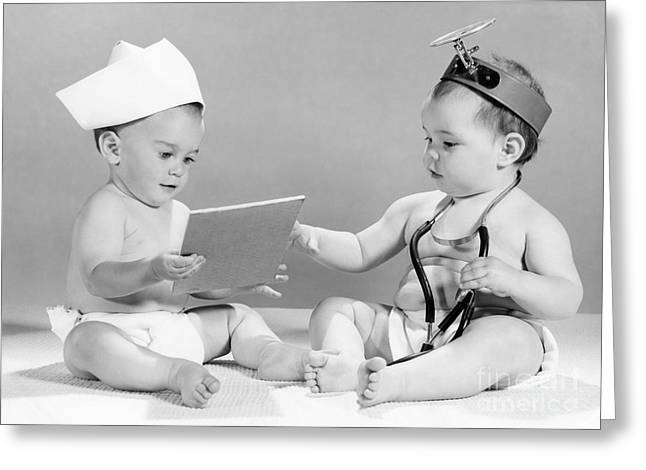 Babies Playing Doctor, C.1960s Greeting Card