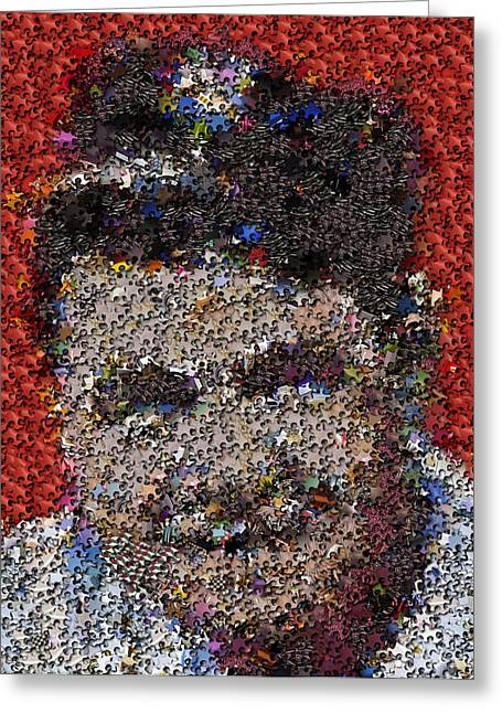 Greeting Card featuring the mixed media Babr Ruth Puzzle Piece Mosaic by Paul Van Scott