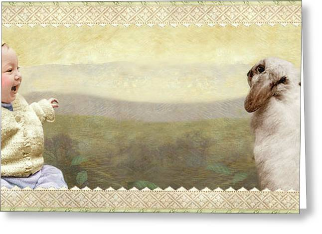 Baby And Bunny Talk Greeting Card