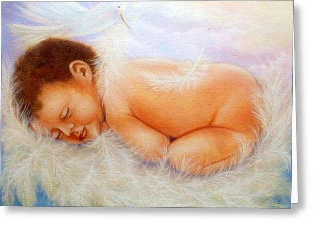 Baby Angel Feathers Greeting Card
