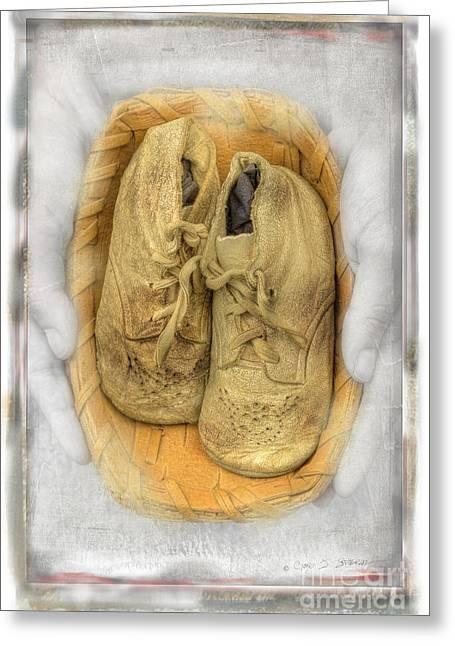 Baby Basket Shoes Greeting Card by Craig J Satterlee