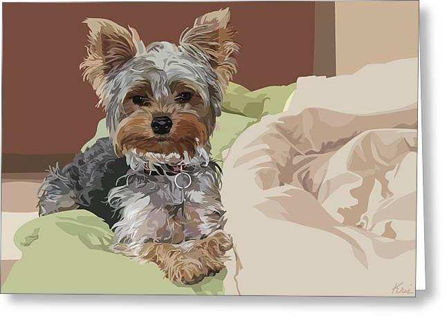 Pet Portraits Digital Art Greeting Cards - Baby Bedhead Greeting Card by Kris Hackleman