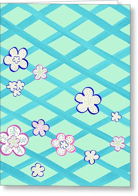 Baby Blue Flower Garden Greeting Card by Irina Sztukowski