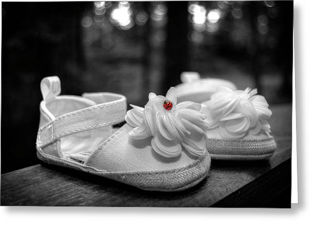 Baby Bootie Bug - Red Greeting Card by Chrystal Mimbs