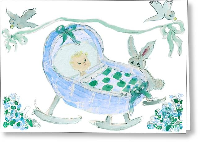Greeting Card featuring the painting Baby Boy With Bunny And Birds by Claire Bull
