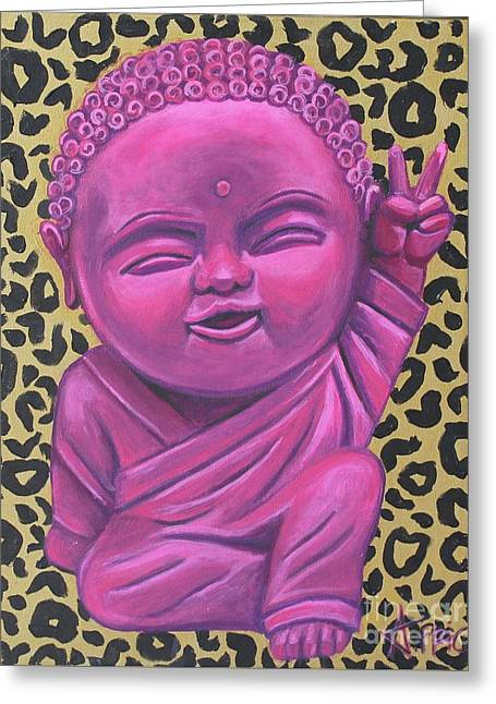 Greeting Card featuring the painting Baby Buddha 2 by Ashley Price
