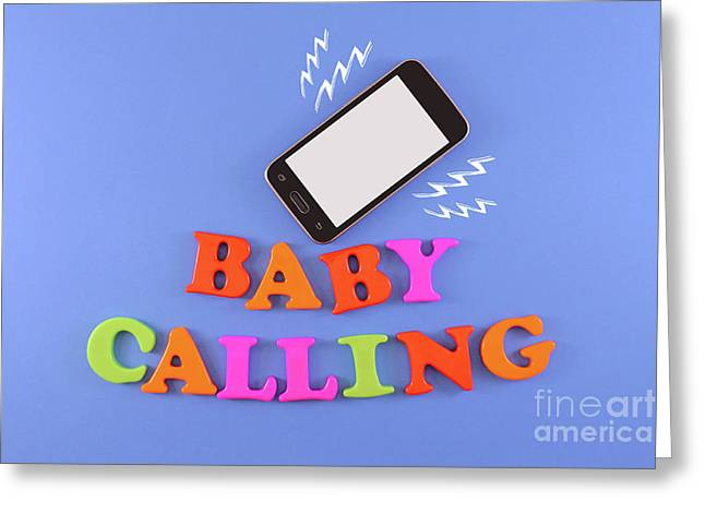 Baby Calling. Baby Shower Concept In Flat Lay Greeting Card