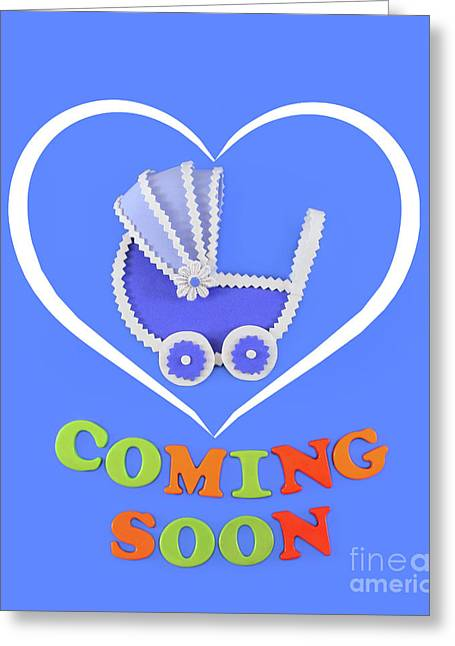 Baby Carriage Inside A White Heart Greeting Card