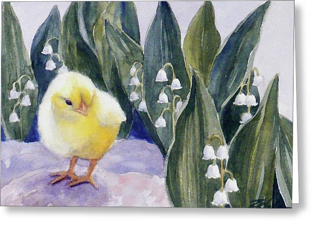 Baby Chick And Lily Of The Valley Flowers Greeting Card