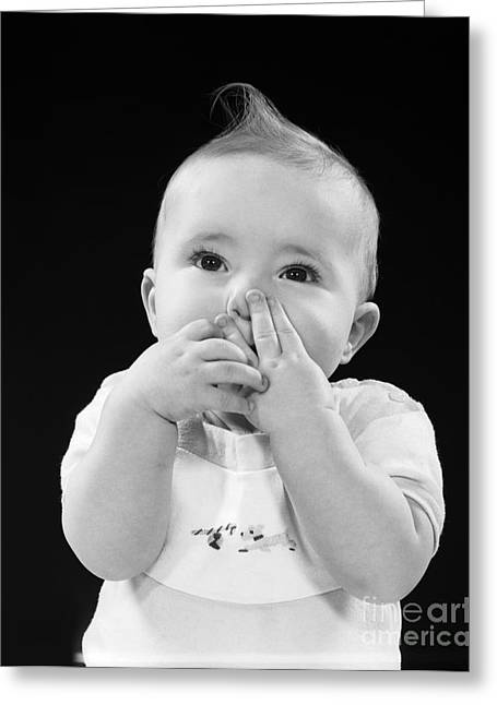 Baby Covering Mouth With Hands, C.1950s Greeting Card by H. Armstrong Roberts/ClassicStock