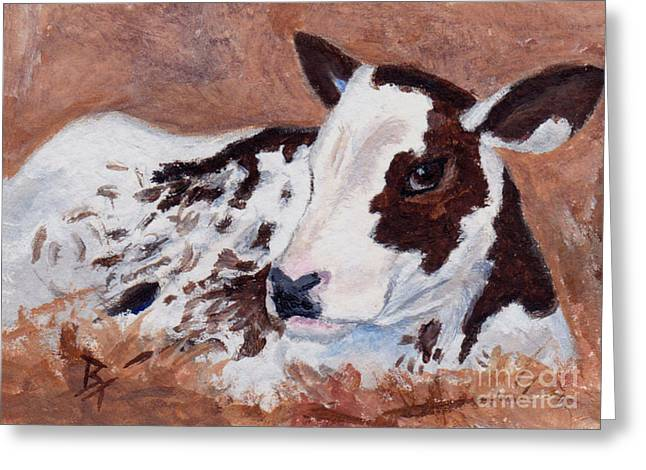 Baby Cow Aceo Greeting Card