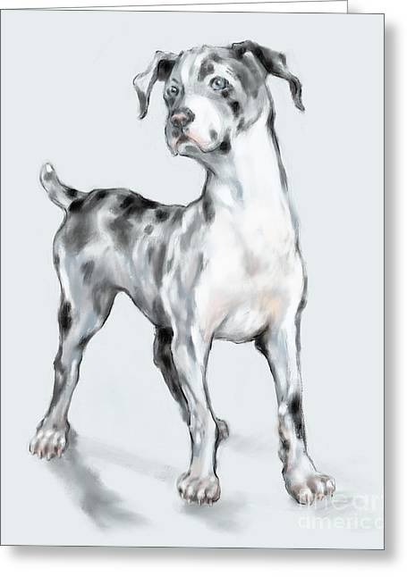 Greeting Card featuring the digital art Baby Dane by Lora Serra