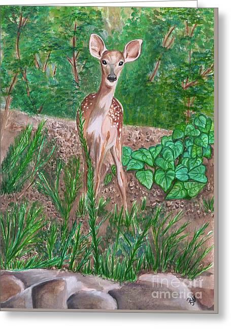 Baby Deer Greeting Card by Patty Vicknair