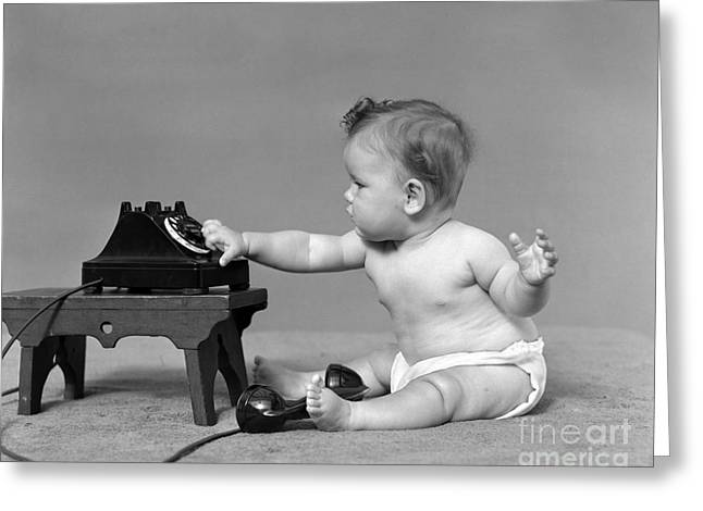 Baby Dialing Telephone, C.1940s Greeting Card by H. Armstrong Roberts/ClassicStock