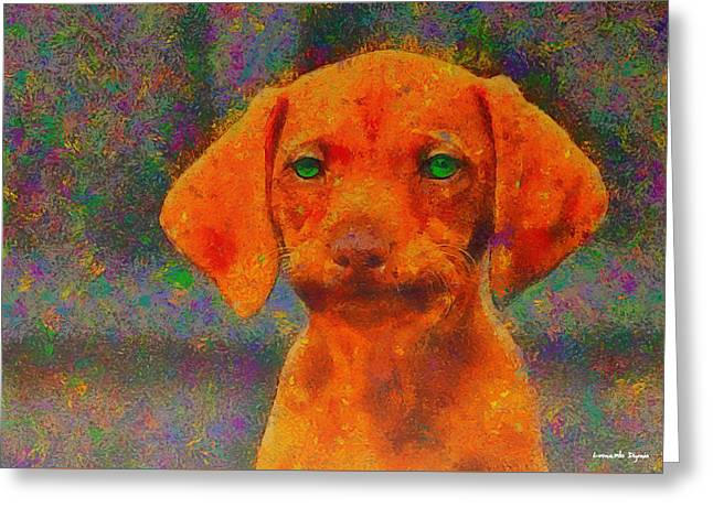 Baby Dog - Da Greeting Card by Leonardo Digenio