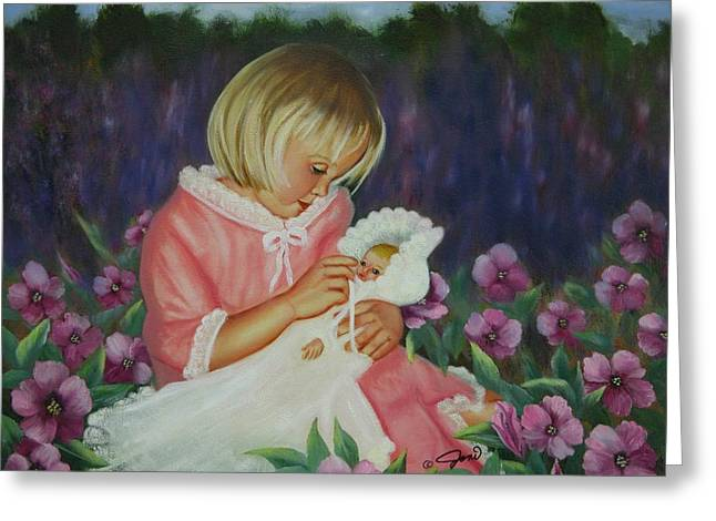 Greeting Card featuring the painting Baby  Doll by Joni McPherson