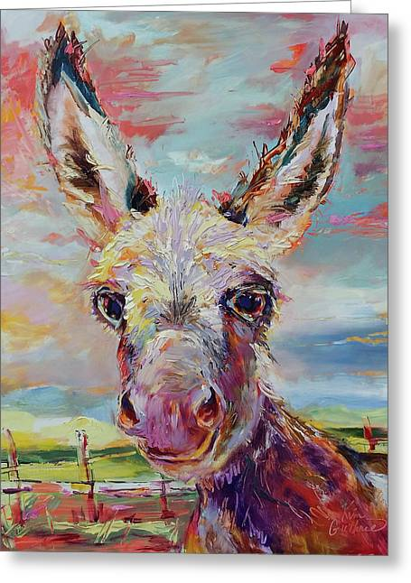 Baby Donkey Painting By Kim Guthrie Art Greeting Card