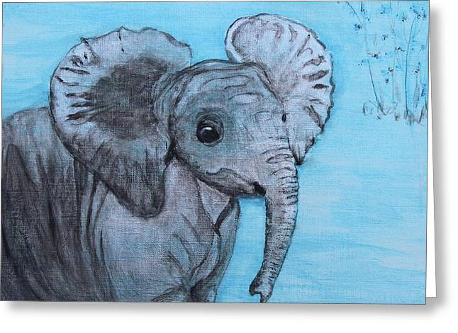 Baby Elephant Greeting Card by M Gilroy