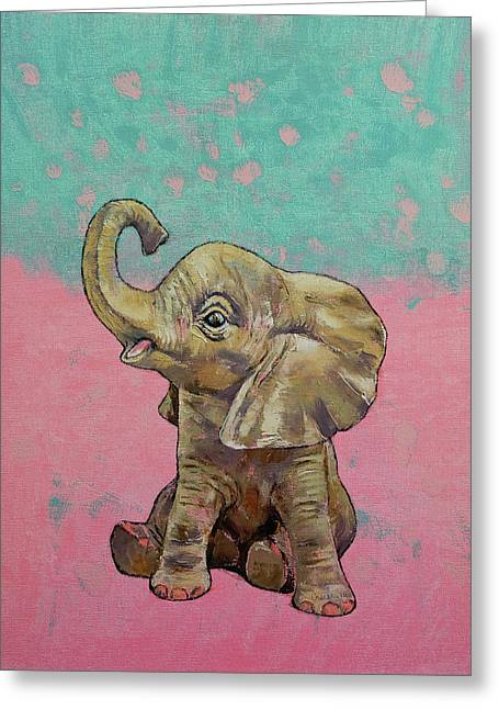 Baby Elephant Greeting Card by Michael Creese