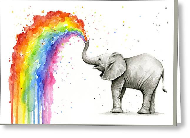 Baby Elephant Spraying Rainbow Greeting Card by Olga Shvartsur