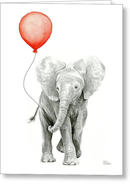 Baby Elephant Watercolor Red Balloon Greeting Card by Olga Shvartsur