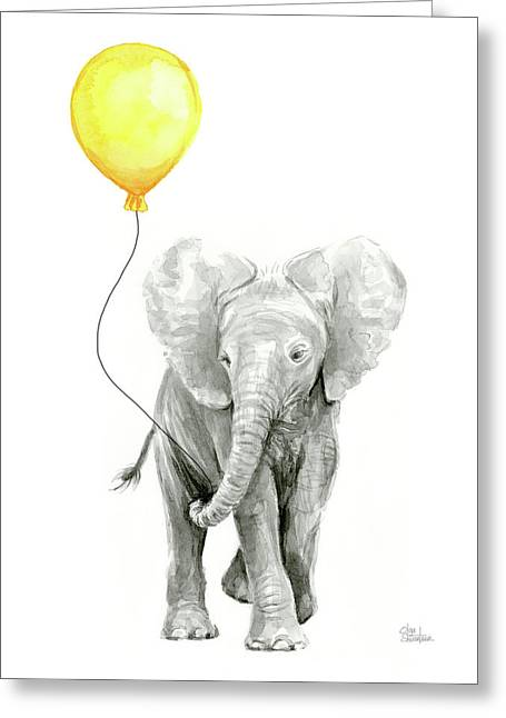 Baby Elephant Watercolor With Yellow Balloon Greeting Card by Olga Shvartsur