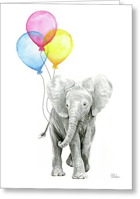 Baby Elephant With Baloons Greeting Card
