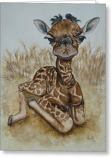 New Born Baby Giraffe Greeting Card
