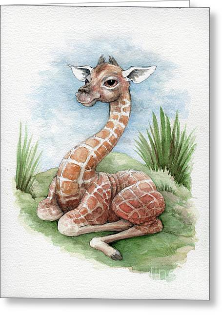 Greeting Card featuring the painting Baby Giraffe by Lora Serra