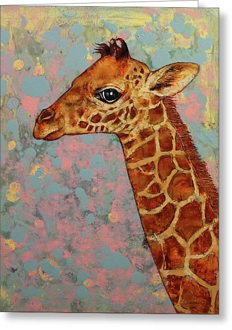 Baby Giraffe Greeting Card by Michael Creese