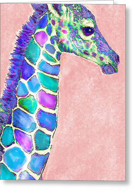 Baby Giraffe Pink And Purple Greeting Card by Jane Schnetlage