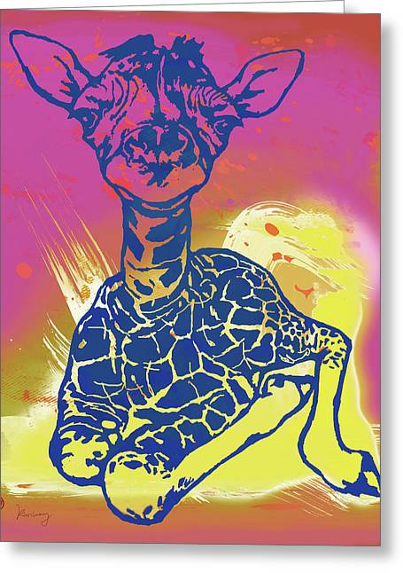 Baby Giraffe - Stylised Pop Art Poster Greeting Card by Kim Wang