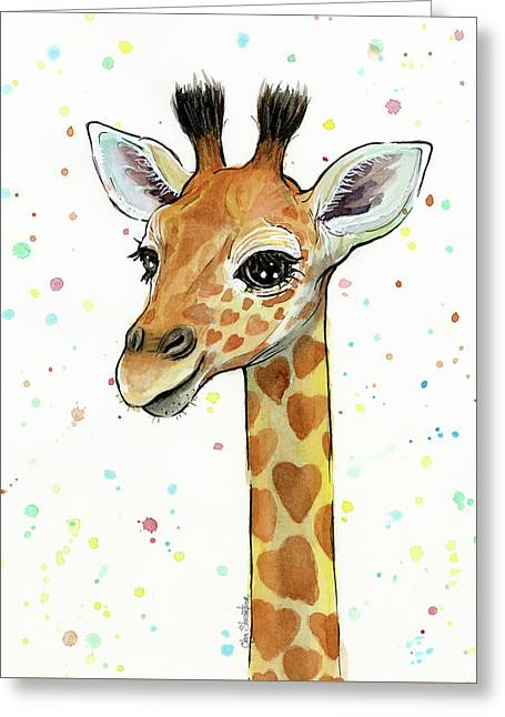 Baby Giraffe Watercolor With Heart Shaped Spots Greeting Card by Olga Shvartsur