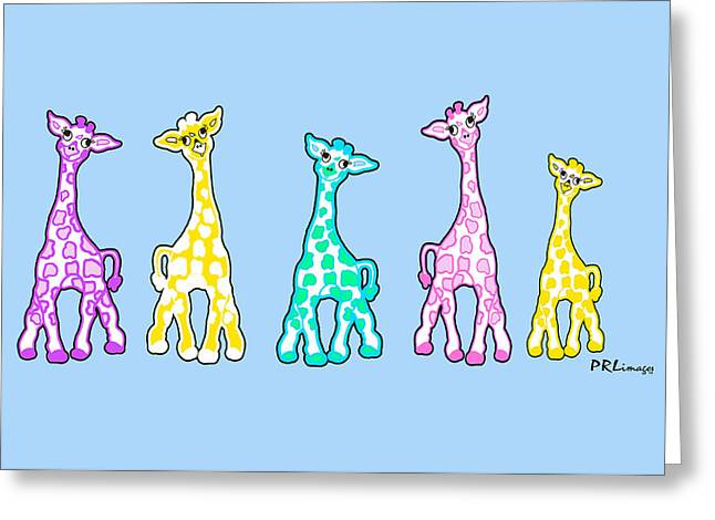 Baby Giraffes In A Row Pastels Greeting Card