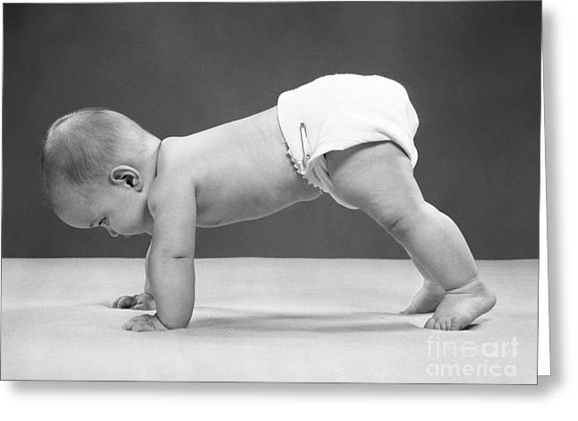 Baby Girl Crawling, 1950s Greeting Card by H. Armstrong Roberts/ClassicStock