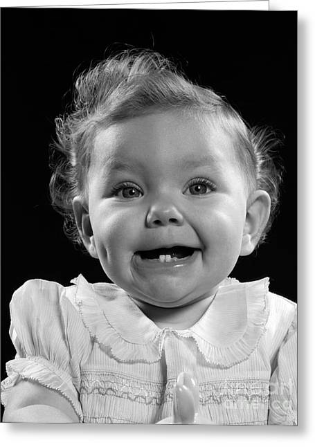 Baby Girl With Two Teeth, C. 1950s Greeting Card by H. Armstrong Roberts/ClassicStock