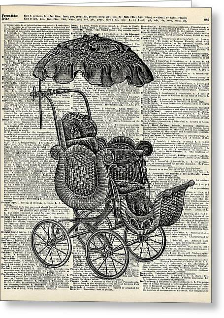Baby Pram Over A Vintage Dictionary Page Greeting Card